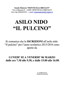 Locandina iscrizioni NIDO 2015-16